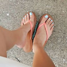 Orange and Light blue toes Sky toes Nice Toes, Pretty Toes, Girls Flip Flops, Flip Flop Shoes, Foot Toe, Beautiful Toes, Sexy Toes, Female Feet, Women's Feet