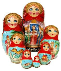 This beautiful nesting doll set is hand painted in Central Russia by the artist Shishko. Every babushka doll has lots of fine details and gorgeous contrasting colors. The entire collection is painted