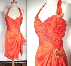 Vintage 1960's Dress // 60s Orange Chiffon by TrueValueVintage