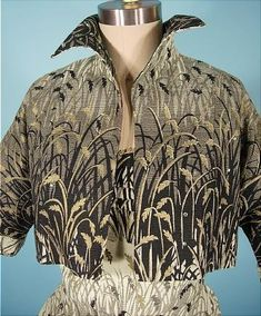 1950's Barkcloth sundress with matching bolero. Barkcloth