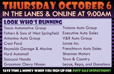 Join us this Thursday, October 6 in the lanes or online with Tasca Automotive Group, Antonino Auto Group, Crest Ford, Reynolds Garage & Marine, Fathers & Sons of West Springfield, Hurd Automall, Saccucci Honda, Grossman Chevy Nissan, Troiano Auto Group, Executive Auto Sales, V&R Auto Group, Lance Inc., Frenchtown Auto Sales, Shannon Motors, Town & Country, Lease, Repo, and Donations
