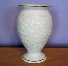Vintage Lenox China Large Vase w/ Embossed Lily Pattern - 24-K Gold Trim - Gold Mark on Bottom - 8 Inches Tall Pedestal Vase - Lillies