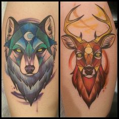 Made these today for Bailey, who stat like a rockstar for both of them. Back of calves, about 2.5 hrs apiece. I have the best clients. :D #watercolor #wolf #stag #geometric #geometry #tattoo
