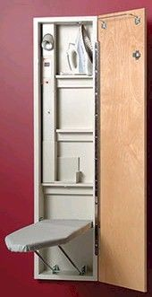 This site has pre-made and DIY plans for ironing board cabinets ...