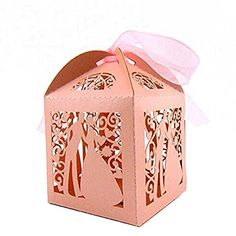 Tinksky 50pcs Couple Design Luxury Lase Cut Wedding Sweets Candy Gift Favour Boxes with Ribbon Table Decorations Wedding Favors (Pink) * Want to know more, click on the image.