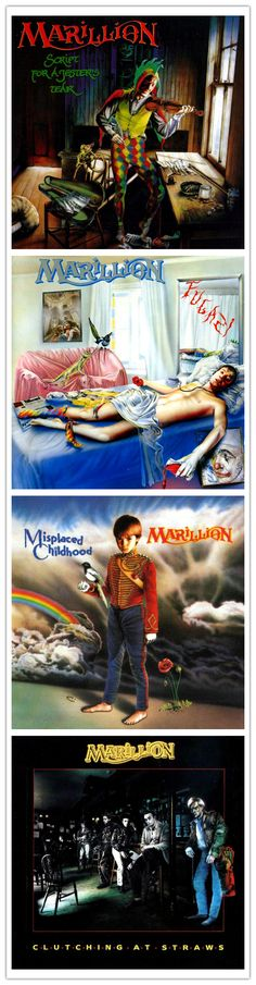 Marillion album art, 1983 - 1987, their first four studio albums with FISH as frontman, artwork Mark Wilkinson
