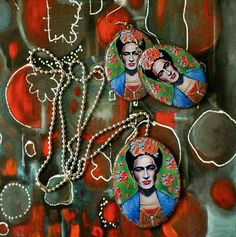Handmade Frida resin earrings and necklace by LucLacDesign on Etsy, $20.00