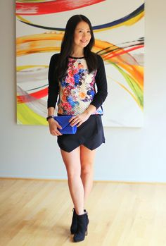 Golden Tote floral top with asymmetrical skort   My Rose Colored Shades