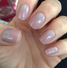 Nude nails with glitter at the bottom #GlitterFashion