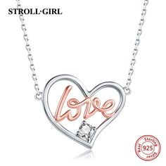 925 sterling silver GOLD LOVE Heart Necklaces & Pendants Authentic Sterling Silver Jewelry For Couple Cheap Necklaces, Fashion Jewelry Necklaces, Metal Necklaces, Fashion Necklace, Necklace Types, Heart Pendant Necklace, Gift For Lover, Love Heart, Sterling Silver Jewelry