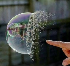 Amazing photo of bubble popping! #photography #bubbles