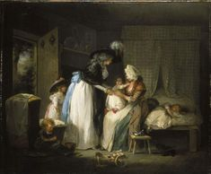 """""""Visit to the Child at Nurse"""" by George Morland (1788) at the Fitzwilliam Museum, Cambridge - Although it was becoming increasingly common for upper- and middle-class women to breastfeed their own children during the 18th century, a number still chose to send their children out to nurses in the countryside. For instance, in London, the belief was simply that the city was too unhealthy for small children - not an unfair assessment, in my opinion."""
