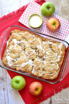 Apple Pie Bars with a sweet vanilla drizzle... SO yummy and perfect for fall! Hello, Friends! It's Cathy from Lemon Tree Dwelling, back to share some fall yumminess with you!! When I think about fall, the first two flavors that come to mind are apple and pumpkin....and in honor of school...