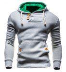 Slimming Hooded Single-Breasted Front Pocket Applique Design Men's Long Sleeves Hoodie