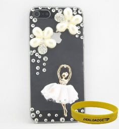 Dealgadgets 3D Bling Diamond Crystal Rhinestone Pearl Flower and Ballet Girl Pattern Transparent Hard Case Skin Cover for Apple iPhone 5 5G with Free Wristband from Dealgadgets by Dealgadgets, http://www.amazon.com/dp/B009FWLKI0/ref=cm_sw_r_pi_dp_bamVqb0QFDE7E