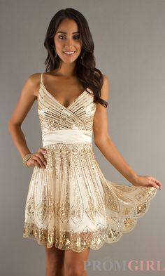 Prom Dresses, Celebrity Dresses, Sexy Evening Gowns at PromGirl: Sequin Embellished V-Neck Short Dress