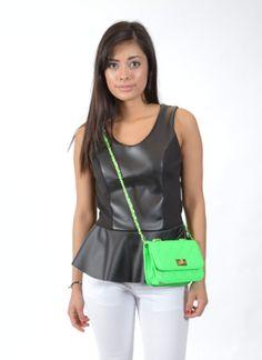 Neon Green Crossbody Bag, Black & White, Summer Fashion 2014, Summer 2014, www.threeclothing.com