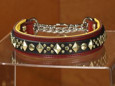 CALIFORNIA COLLAR CO - leather dog collars, leashes & accessories - DIAMOND JACK DELUXE - chain martingale leather dog collar