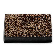 Leopard Clutch, Black