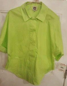 Anne Klein Womens Top Blouse Shirt SZ 10 Green NWT STRETCH 3/4 Button