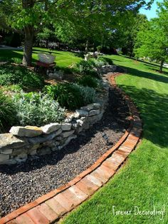 Terry from Forever Decorating used old bricks to edge her landscaping...beautiful!