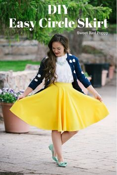 Easy Circle Skirt Tutorial Free PDF Pattern Yellow Skirt Beginner friendly
