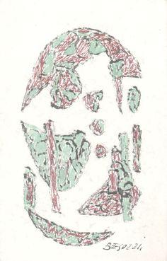 E. Besozzi pitt. s.d. (1961) Composizione pennarello biro e acquerello su cartoncino cm. 11,2x7 arc. 646
