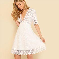 Lace Trim Eyelet Embroidered Dress Women White Deep V Neck Half Sleeve Cut Out Plain Dress 2018 Summer Sexy Cotton Dress Boho Dress, Lace Dress, White Dress, White Lace, Fit N Flare Dress, Fit And Flare, Vestidos Country, Shein Dress, Dress Outfits