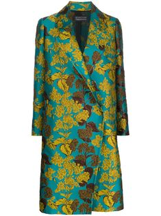 Multicolour silk-blend floral-jacquard coat from Gianluca Capannolo featuring a floral pattern, a double breasted front fastening, long sleeves, a straight fit and a straight hem. Trench Coat Outfit, Coats For Women, Clothes For Women, Coat Patterns, Couture, Colorful Fashion, Chic Outfits, Vintage Outfits, Style Inspiration