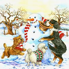 Happy Christmas Eve & Third Night of Hanukkah❤️ #holidayseason #snowman #dogs #picturebooks #happy #celebrate #childrensbookillustration  #winter