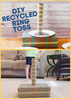 Grab items from the recycling bin and some paper plates and make this fun DIY recycled ring toss game for kids! Decorate the game and the rings for added fun.  This is a great DIY game for class parties, rainy days, and boredom busters.  #diygamesforkids #rainydayactivities #indoorkidsactivities #paperplatecrafts