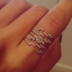 Jenny Kwon gold and diamond stacked rings Gold Jewelry, Jewelry Box, Jewelry Rings, Jewelry Accessories, Fine Jewelry, Jewelry Design, Bling, Love Ring, Clutch