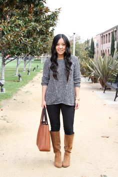 Grey Sweater and Black Jeans with Cognac Boot Outfit