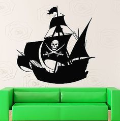 Wall Stickers Vinyl Decal for Kids Room Pirate Ship Baby Nursery (ig516)