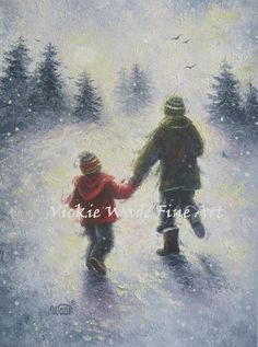 Dad Son Snow Play Art Print two boys two by VickieWadeFineArt