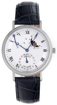 Breguet Classique Moonphase Power Reserve 18k White Gold Men's Watch 3137