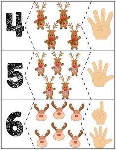 Teach counting skills with Reindeer! Great for teaching counting skills and number recognition for numbers Quick prep and great for math centers! Numbers Preschool, Preschool Printables, Preschool Math, Teaching Kindergarten, Teaching Kids, Preschool Christmas Activities, Counting Activities, Fun Activities For Kids, Christmas Holidays