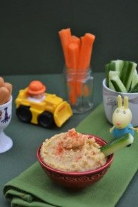 An easy creamy hummus suitable for weaning babies and toddlers. Serve with breadsticks and crunchy vegetable sticks for a healthy snack. Suitable for vegetarians.