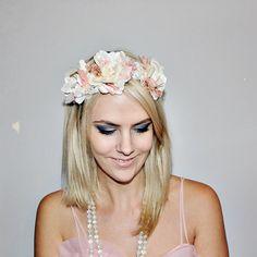 nude and cream lace flower head crown headband hair by alofashion, $35.00