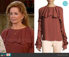 Maggie's brown ruffled blouse on Days of our Lives. Outfit Details: https://wornontv.net/78428/ #DaysofourLives