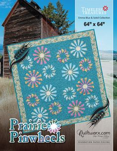 """Prairie Pinwheels was designed as an introduction to a new series of patterns designed around windmills. Perhaps the most """"efficient"""" design when it comes to fabric usage, this quilt requires less tha"""