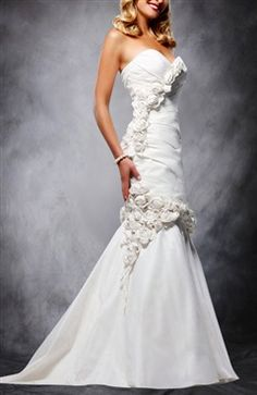 [two In One Wedding Dress]white Strapless Trumpet Chapel Train Wedding Dress - Wedding Gowns - OuterInner.com