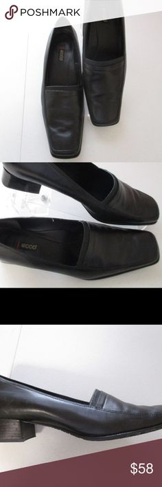 "ECCO Black Leather Loafers Shoes 42 US 11 11.5 Great looking ECCO womens shoes     Size 42 fits US 11/11.5     Black     Loafer style in leather     1.25"" heels     Excellent condition Ecco Shoes Flats & Loafers"
