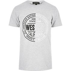 Grey 'West State' print t-shirt
