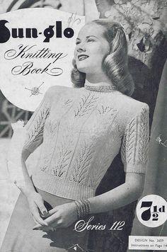 1940s Vintage Knitting Patterns - PDF Copy of Sun-glo Knitting Booklet Series 112
