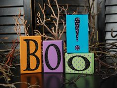 Boo! Halloween Wooden Block Letters
