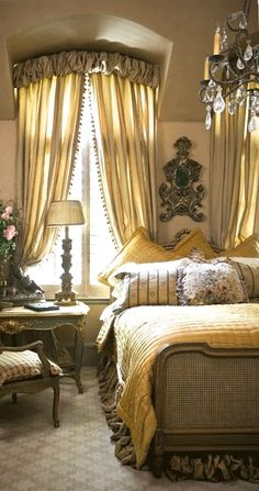 French master bedroom…warmed up with fabric by Nobilis for the draperies and bed skirt…Kim Brockinton @ Home Design Ideas French Master Bedroom, French Country Bedrooms, French Country Style, French Chic, Master Suite, Dream Bedroom, Home Bedroom, Bedroom Decor, Bedroom Ideas
