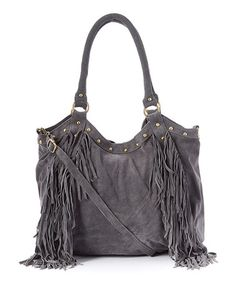This Gray Nikki Leather Fringe Tote is perfect! #zulilyfinds