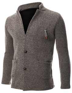 FLATSEVEN Mens Knit Jacket Sweater Cardigan 2 Button Stand Collar with Pocket (C401) Beige, M