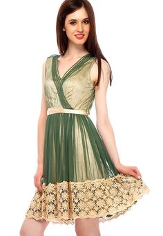 Green Solid Dress at $106.59 (24% OFF)